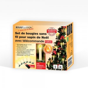 Set de 6 bougies LED sapin