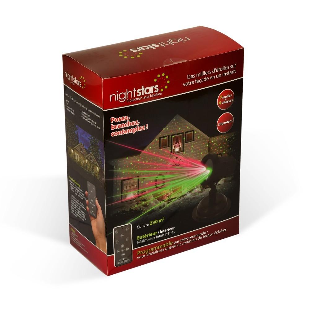 Projecteur laser bicolore nightstars avec t l commande for Tele achat projecteur noel