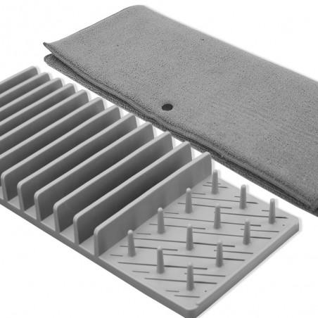 Égouttoir vaisselle avec support en gris