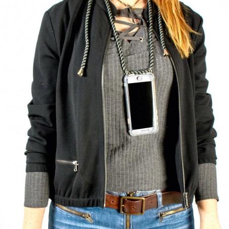 Coque noir en tour de cou pour iPhone X