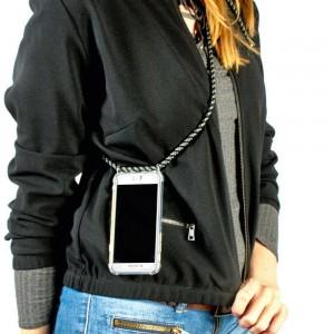 Coque noir en bandoulière pour iPhone X