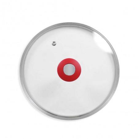 Couvercle en verre avec bouton poignée et trou régul'vapeur DURANDAL