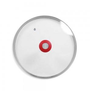 Couvercle en verre 28 cm avec bouton poignée et trou régul'vapeur DURANDAL