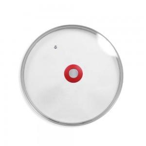 Couvercle 32 cm en verre avec bouton poignée et trou régul'vapeur DURANDAL