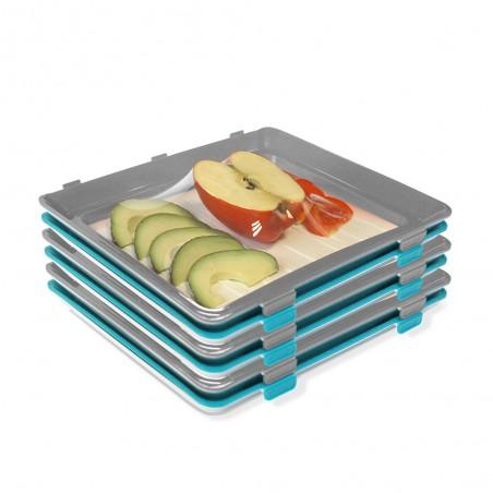 6 plateaux de conservation avec film alimentaire